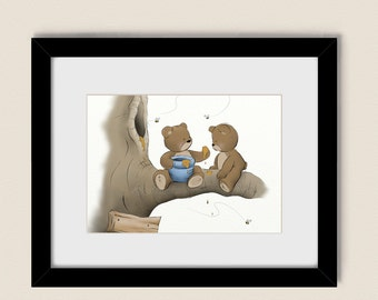 Blue Childrens Wall Art 5 x 7 Print, Teddy Bear Baby Boys Nursery Art, Childs Room Wall Decor    (97)