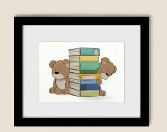 5 x 7 Childrens Art Print Teddy Bear Nursery Decor, Reading Books Wall Art For Boys Room or Girls Room (132)