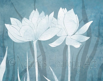 8 x 10 Baby Blue Wall Art for Home or Office, Lotus flower Bedroom or Living Room Decor, Nature Wall Art Print (330)