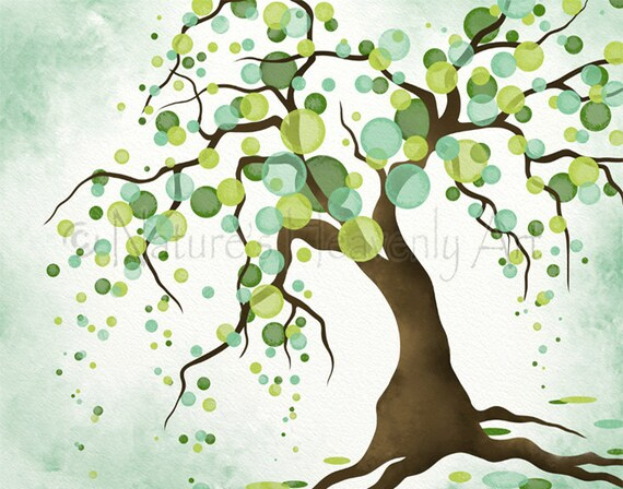 Teal green room decor living room wall art 11 x 14 tree art for Living room 11 x 14