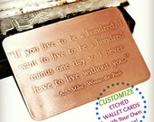 Etched Wallet Card Insert - Copper -  If You Live to Be a Hundred - Winnie the Pooh - Love - Inspiration - Customize - Valentine's Gift