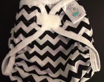 Black Chevron Polyester PUL Cloth Diaper Cover With Aplix Hook & Loop Or Snaps You Pick Size XS/Newborn, Small, Medium, Large, or One Size