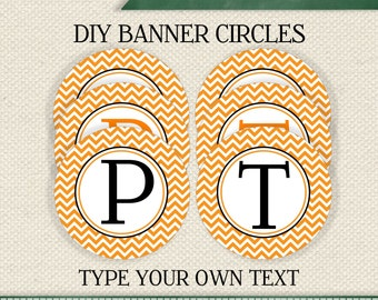 HALLOWEEN  EDITABLE  INSTANT Download Printable Editable Orange Chevron Circle Banner (Digital File)