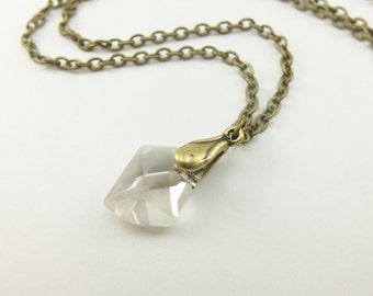 Dainty Crystal Necklace Smoky Silver Antiqued Brass Necklace