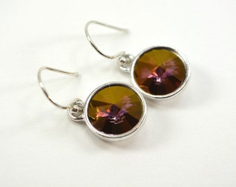 Purple and Silver Earrings Shimmery Sterling Dangle Earrings Circle Crystal Golden Shadow