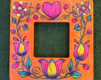 Orange. Pink. Yellow Hearts and Flowers Painted Frame