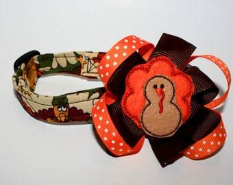Fall/Thanksgiving slide on Pet Collar Bow