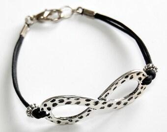 Infinity Bracelet, Infinity Charm and Leather Bracelet - Silver n Black, Friendship Bracelet, Math Infinity Symbol Bracelet, Math Geek Gift