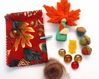 Autumn Leaf Peg Doll and Box of Natural Seasonal Treasures