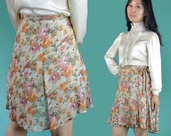 Sheer Floral Wrap Skirt 70s Bohemian Sheer Gauze Side Tie High Waist Skirt Vintage Ethnic Boho Mini Skirt OSFM