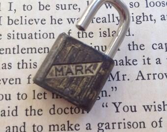 Vintage mini Mark lock jewelry altered art