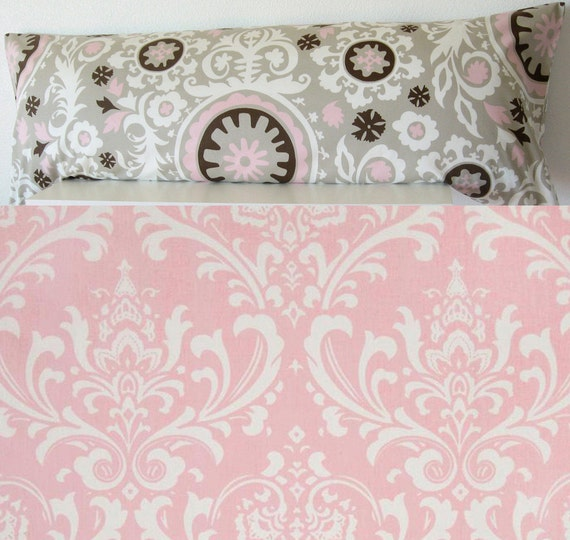 Items similar to Pillow Cover - Pink - damask - pink suzani - Two Faces - 20x54 - body pillow ...
