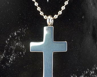 """Stainless Steel CROSS Cremation Urn on 24"""" Ball-Chain Necklace - with Velvet Pouch"""