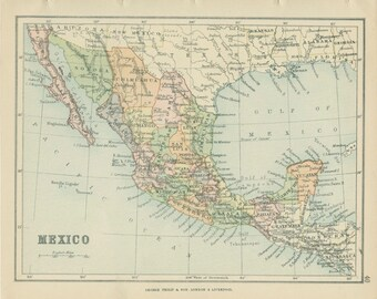 1895, Mexico, Victorian Antique Map, World Map Page 40, School Atlas, Library Decor