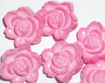 Perfectly Pink Cabbage Rose Realistic Buttons