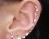 Sterling Silver Mini Hearts Chain Cartilage Double Piercing