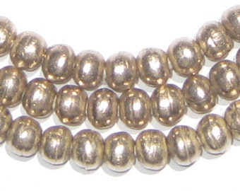 130 Ethiopian Metal Beads - 6mm Round Beads - African Silver Beads - Metal Spacers - Fair Trade - Made in Africa (MET-RND-SLV-251)