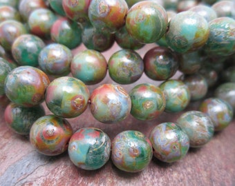 Picasso Tide Druk Czech Glass Round Beads 6mm