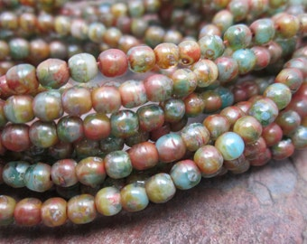 Tidepool Druk Czech Glass Round Beads 3mm