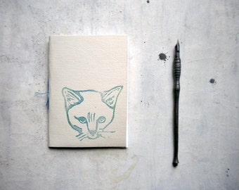 cat journal blank  notepad , hand  Stitched travel Journal with blue cat linocut -