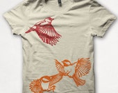 Womens Tshirt, Flying Finch and Chickadees, Bird Shirt, Screenprint, Forest and Fin, Graphic Tee - Cream