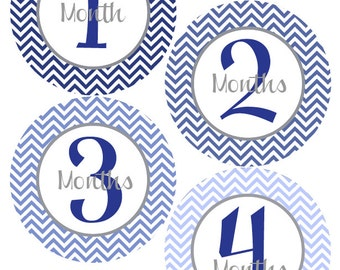 Baby Month Stickers Baby Boy Monthly Stickers Blue and Grey Chevron First Year Month Stickers Baby Shower Gift and Photo Prop Billie-T
