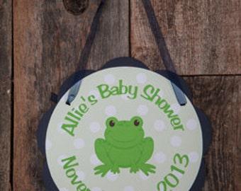 Frog Door Hanger - Frog Baby Shower Decorations - Frog Welcome Sign - Frog Shower Decorations - Frog Sign in Navy Blue & Green
