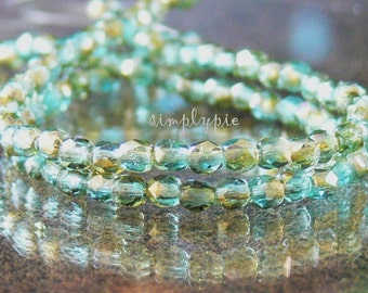 Aquamarine Celsian Czech Beads 3mm 50 Fire-Polished Faceted Round Glass
