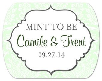"Custom Wedding Favor Stickers - Mint to Be - Mint Tin Labels - 2"" x 1.6"""