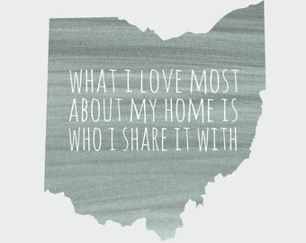 "Ohio ""What I Love Most About My Home Is Who I Share It With"" Grey Blue or Pink 8x10 Print"