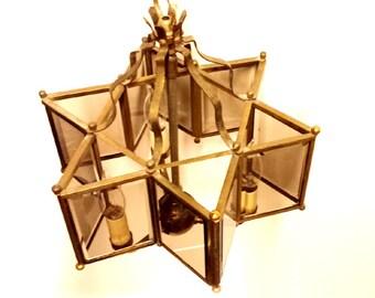 Star Lantern, Hanging Lantern with Smoked Glass, Mid Cent Lighting