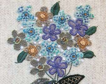 Jacobean Flower Wool Applique, Hand Embroidery / Pattern / Jac 020