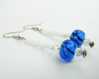 Long Blue and White Yemaya Inspired Beaded Dangle Earrings