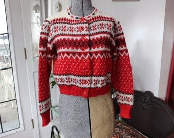 Wool Sweater Norwegian Machine knit Jersild Cardigan Size medium small Red Black VINTAGE by Plantdreaming