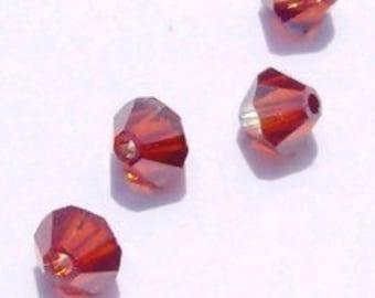 48 Swarovski crystal beads 4mm BICONE 5328 Crystal Beads RED MAGMA