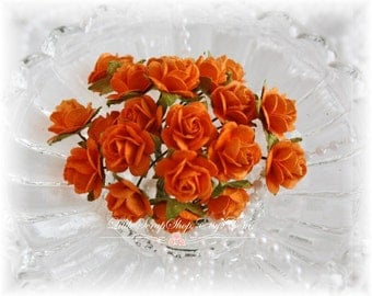 Miniature Roses~Tangelo~ Set of 20 for Scrapbooking, Cardmaking, Altered Art, Wedding, Mini Album