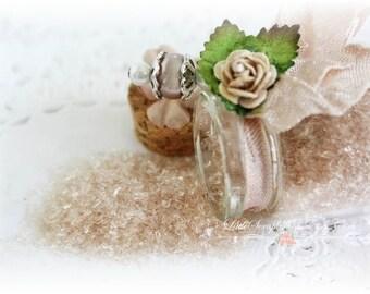 Glitter Glass Bottles .5 Ounces, Hand Tinted Diamond Dust, German Glitter, Vintage Brown