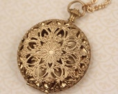 Gold Floral Push Button Locket, Large Pendant, Long Necklace, Round Pendant, Ornate Flower Locket, Large Jewelry