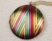 Stripes Locket Rainbow Necklace, Colorful Locket, Rainbow Jewelry, Chevron, Green Yellow Locket, Gay Lesbian Jewelry
