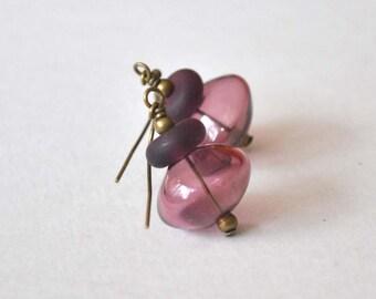 Plum Earrings, Aubergine Earrings, Lampwork Glass, Light Weight Earrings, Hollow Blown Glass Earrings