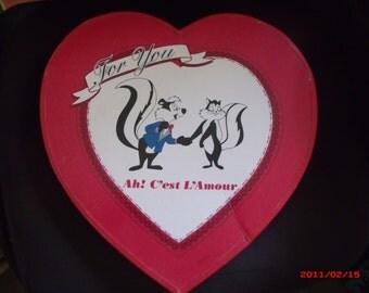 Vintage Valentine Heart Candy Box Pepe Le Pew Warner Bros Romantic