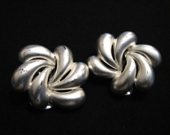 HUGE Vintage Brushed Silver Tone Swirled Twisted Wave Clip Earrings