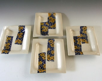 Ceramic and pottery porcelain serving dishes, set of four each.