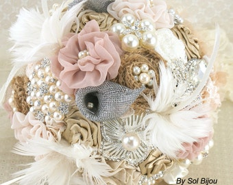 Brooch Bouquet, Calla Lily, Ivory, Silver, Blush, Bridal, Jeweled, Fabic, Linen, Lace, Burlap, Feathers, Crystals, Pearls, Vintage Wedding