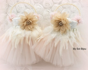 Flower Girl Baskets, Ivory, Blush, Pink, Champagne, Gold, Tutu Baskets, Elegant, Vintage Wedding, Feather Baskets, Lace, Tulle, Crystals