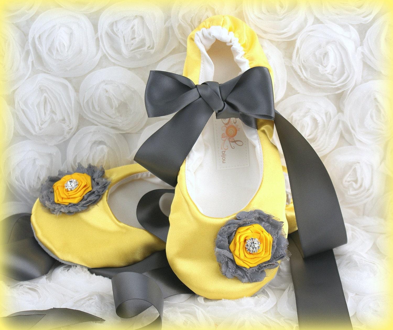 Ballet Flats Yellow Pewter Gray Bridal Elegant Wedding