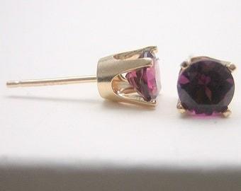 Rhodolite Garnet 14K Gold Stud Earrings - Gold Earrings - 3 mm 4 mm 5 mm - Post Earrings - Garnet Earrings - Red Purple - Birthstone Earring