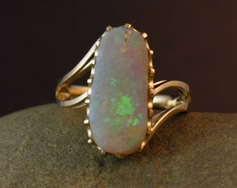 Australian Iridescence Opal Ring- Multi- Colored Ring-Organic Shaped Ring