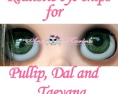 New Soft Resin OOAK REALISTIC custom Pullip, Dal, Taeyang eye chips set C16, by Ana Karina. UV laminated
