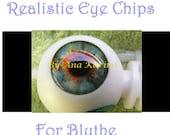 New Soft Resin OOAK REALISTIC custom Blythe eye chips set H11 , by Ana Karina. UV laminated